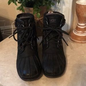 UGG Black Cecile Waterproof Lace Up Boots